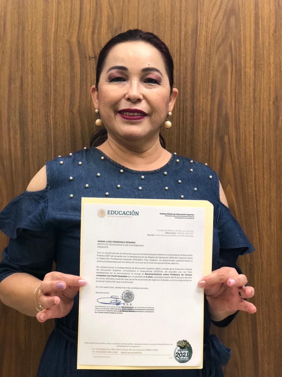 OBTIENE LA ACREDITACIÓN DE PERFIL DESEABLE DOCENTE DEL TECNM CAMPUS HUATABAMPO